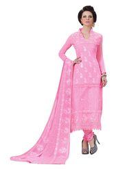Khushali Fashion Chiffon Embroidered Dress Material - Light Pink - HSL1605