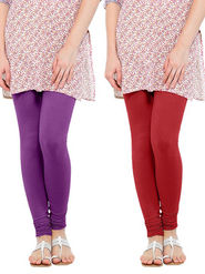 Pack of 2 Oh Fish Solid Cotton Stretchable Leggings -zwe36
