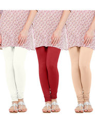 Pack of 3 Oh Fish Solid Cotton Stretchable Leggings -zwe76