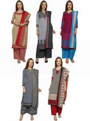 Combo of 5 Florence  Polycotton Printed  Dress Material_Pk5