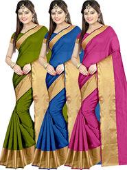 Combo of 3 Zoom Fabric Cotton Silk Plain Sarees_Zmf03