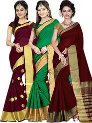 Combo of 3 Zoom Fabric Cotton Silk Plain Sarees_Zmf01