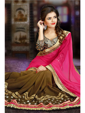 Pink and Brown Georgette Embroidered Saree with Black Blouse Piece_JJ-SR-ADY-8311