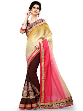 Nanda Silk Mills Multicolor Georgette Embroidered Saree With Blouse Piece_Enigma-4804
