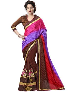 Nanda Silk Mills Brown Georgette Embroidered Saree with Blouse_Adiction-4608