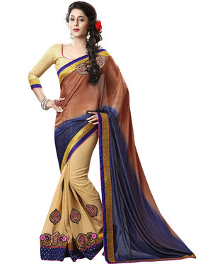 Nanda Silk Mills Cream Georgette Embroidered Saree with Blouse_Adiction-4606