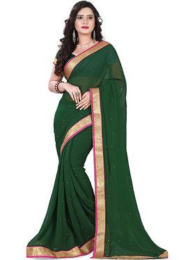 Viva N Diva Chiffon Lace Border Saree 10073-Peacock-Vol-02
