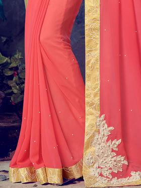 Indian Women Embroidered Georgette Peach Designer Saree -MG12307