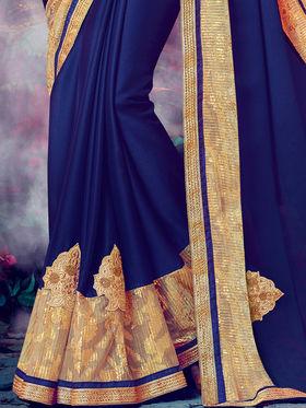 Indian Women Embroidered Moss Chiffon Dark Blue Designer Saree -MG12314