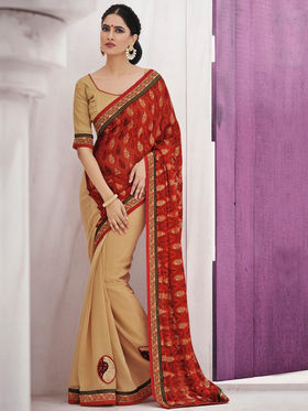 Bahubali Brasso Embroidered Saree - Red_GA.50127
