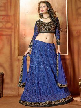 Viva N Diva Embroidered 2 in 1  Lehenga cum Anarkali Suit  - Blue & Black