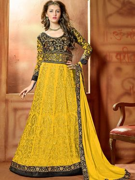 Viva N Diva Embroidered 2 in 1  Lehenga cum Anarkali Suit  - Yellow & Black