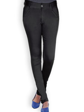 Uber Urban Cotton Lycra Solid Pant - Black_AURA-CP-BLK