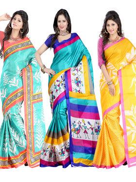 Combo Of 3 Carah Bhagalpuri Printed Saree_CRH-N302