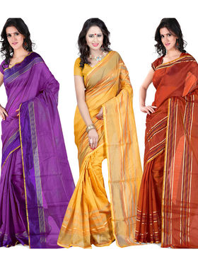 Combo Of 3 Carah Cotton Silk Plain Saree_CRH-N283
