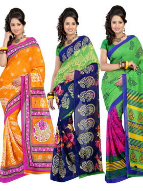 Combo Of 3 Carah Georgette Printed Saree_CRH-N271