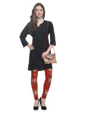 Lavennder Knitted Solid Legging - Red With Golden Bag_LZB-52339