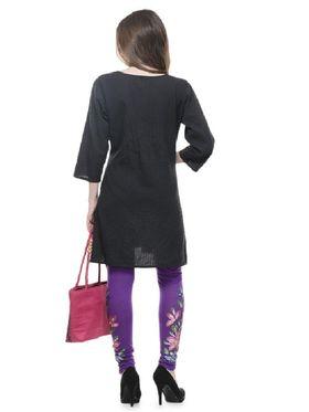 Lavennder Viscose Solid Legging - Purple With Fushia Bag_LZB-52343