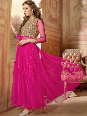 Viva N Diva Net  Embroidered Salwar Suit - Pink_Vedant-1003