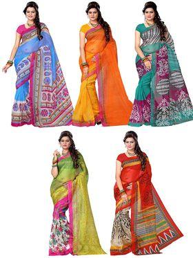 Combo of 5 Adah Fashions Supernet Printed Saree -ad07