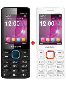 Combo of Adcom Trendy X17 Feature Phone (White & Orange) + Adcom Trendy X17 Dual Sim Mobile (Black & Blue)