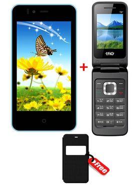 Combo of Trio KitKat 3G SmartPhone (Blue) + Trio Flip Phone + Free Flip Cover for SmartPhone
