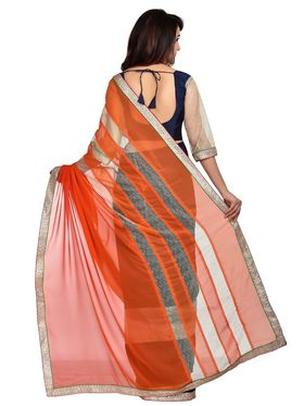 Shonaya Designer Golden Border Georgette Saree - PIMAG-1051