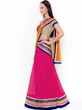 Pack of 3 Classy Triveni Net Semi Stitched Lehenga Cholis_Ts050607