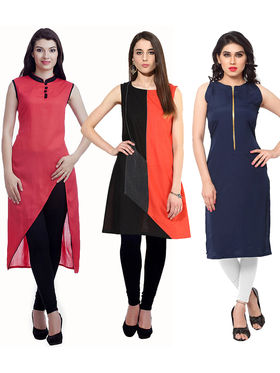 Viva N Diva Combo of 3 Cotton Semi Stiched Kurtis - 15-Lauren