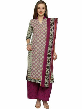 Florence Beige & Maroon Polycotton Printed  Dress Material _Sb3300