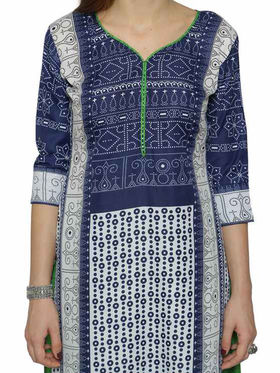 Florence Blue & White Polycotton Printed  Dress Material _Sb3301