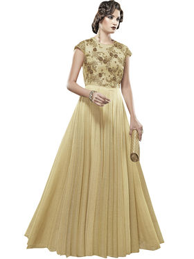 Viva N Diva Embroidered Net Semi Stitched Gown -vnd17
