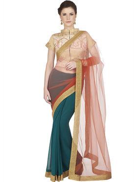 Designersareez Net & Faux Georgette Embroidered Saree -1818