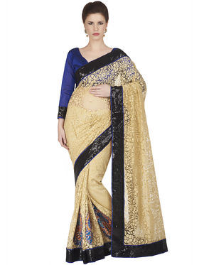 Designersareez Net Brasso Embroidered Saree -1853