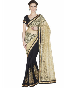 Designersareez Net Brasso & Faux Georgette Embroidered Saree -1875