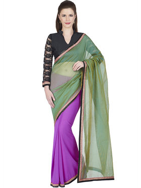 Designersareez Cotton & Faux Georgette Embroidered Saree -1909