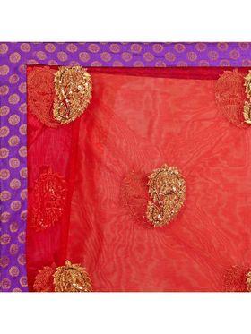 Designersareez Embroidered Satin & Net Saree -2025