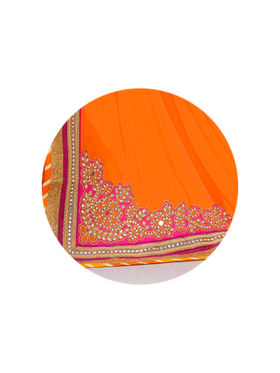 Indian Women Embroidered Crepe Orange & Pink Designer Saree -GA20309