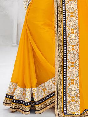 Indian Women Embroidered Satin Chiffon Yellow Designer Saree -GA20310