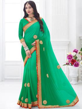 Indian Women Embroidered Moss Chiffon Green Designer Saree -GA20313