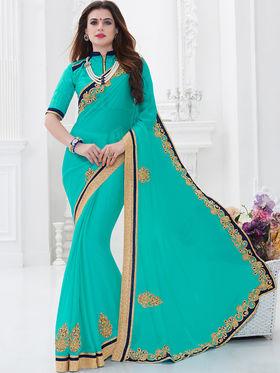 Indian Women Embroidered Moss Chiffon Cyan Designer Saree -GA20327