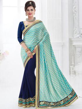 Indian Women Embroidered Jacquard Cyan & Blue Designer Saree -GA20331