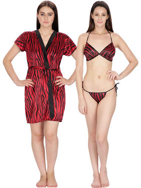 Set of 2 Klamotten Printed Saiin Bikini Set and Robe-28M6-11M6