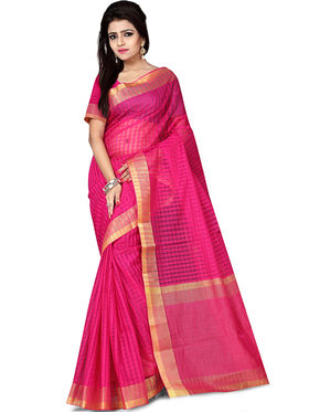 Zoom Fabrics Plain Cotton Silk Dark Pink Saree -4052E