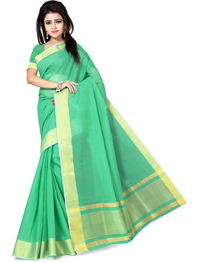 Zoom Fabrics Plain Cotton Silk Green Saree -4053C