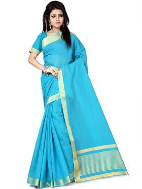 Zoom Fabrics Plain Cotton Silk Sky Blue Saree -4053D
