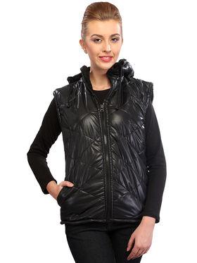 Lavennder Black Solid PU Jackets With Hood - 41029