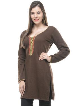 Lavennder Brown Solid Woolen Kurti -6168