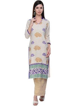 Lavennder Khaadi Printed Off White Long Straight Kurta - 623555