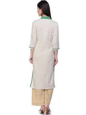 Lavennder Khaadi Printed Off White Long Straight Kurta - 623556
